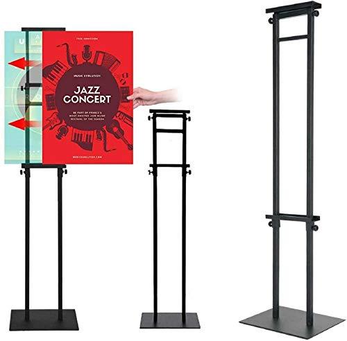 Infoständer Höhenverstellbar Plakatständer Posterständer Metall Informationsständer Präsentationsständer Werbeständer Schnapprahmen mit Sockel (Schwarz)