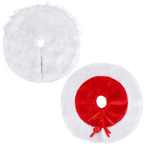 URATOT 2 Pack White and Red Mini Christmas Tree Skirt Christmas Tree Plush Skirt 15' Tree Decorations for Christmas
