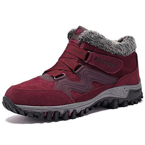 JIANKE Botas de Senderismo Nieve Hombre Mujer Zapatillas de Trekking Antideslizante Invierno Forro Piel Zapatos Rojo 36 EU(Tamaño de la Etiqueta 36)