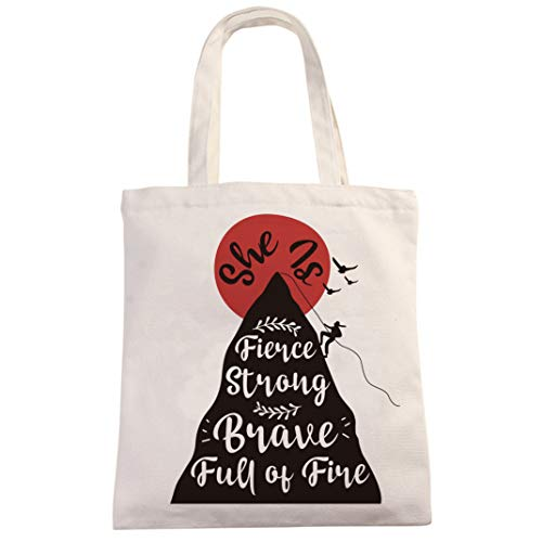 Chillake Inspirational She Is Fierce Strong Brave Full of Fire Natural Cotton Canvas 12 Oz Reusable Tote Bag - Cute Motivational Quote Tote Bag Gifts for Girls Women Daughter Mom