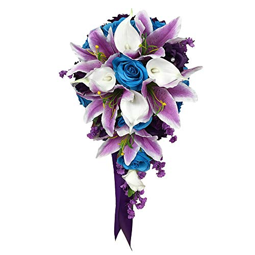 Angel Isabella Cascade Wedding Bouquet - Turquoise Purple and Lavender Roses with White Calla Lilies