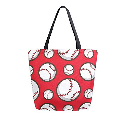 JinDoDo Canvas Bag Sport Ball Baseball Reusable Tote Bag Women Handbag for Shopping Travel Beach School