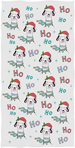 Bonita y Divertida Llama con Sombrero de Papá Noel, patrón Hohoho, Altamente Absorbente, Suave, Grande, Decorativa, Toalla de Mano para Invitados para baño, Hotel, Gimnasio y SPA