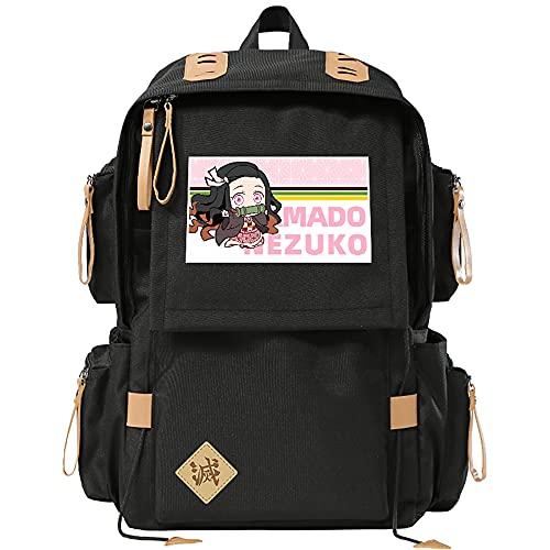 Cos Prop School bag anime cartoon estudiante mochila hombres y mujeres bolsa de computadora para Demon Slayer, anime bolsa para Kamado Nezuko, anime fans colección regalos