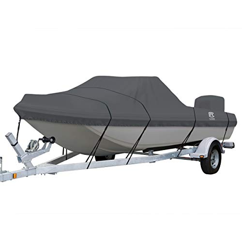 Classic Accessories StormPro Waterproof Heavy-Duty Tri-Hull Outboard Boat Cover, Fits boats 15 ft 6 in - 16 ft 6 in long x 86 in wide