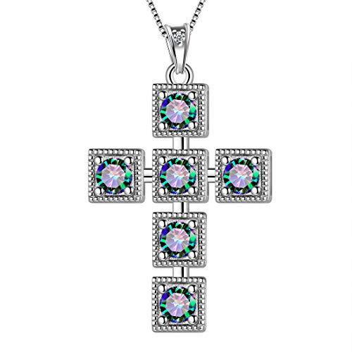 AuroraTears Kreuz Halskette 925 Sterling Silber Mystic Rainbow Topaz Square Kreuz Anhänger religiösen christlichen Schmuck für Männer und Frauen DP0210T