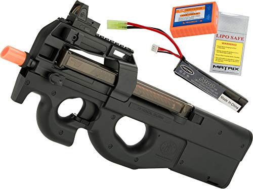 Evike FN Herstal Licensed P90 Full Size Metal Gearbox Airsoft AEG (Color: Black/Add 7.4v LiPo Battery + BMS Charger + LiPo Safe)