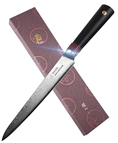TUO 6 inch Utility Knife Japanese AUS-10 HC Stainless Steel - Damascus Blade - Slicing Peeling Multi-Purpose Kitchen Knife with Dishwasher Proof G10 Handle - RING-DM Series