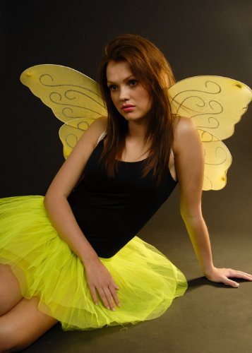 Jaune, jaune, scintillement, papillon, fée, ailes