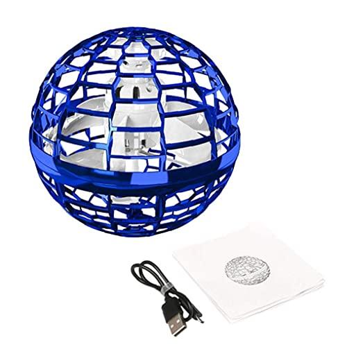 Volando Spinner Juguete LED Globo Controlador Mini Drone Flight Flight Rotating Ball Lámpara Azul