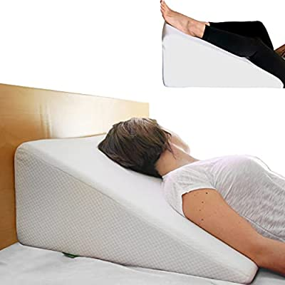 Cushy Form Bed Wedge Pillow - 1.5 Inch Memory Foam Top (25 x 24 x 12 Inches) Best for Sleeping, Reading, Rest or Elevation - Breathable and Washable Cover (12 Inch Wedge, White)