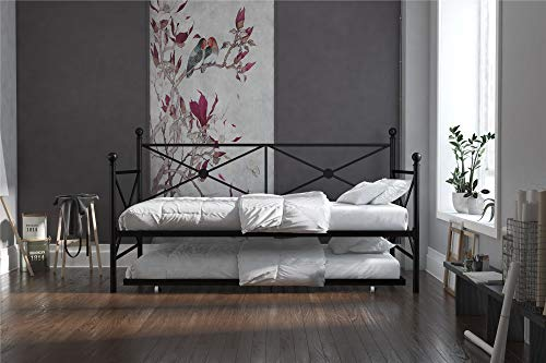 DHP Lina Metal Daybed with Trundle, Twin Size Sofa Bed Frame, Black