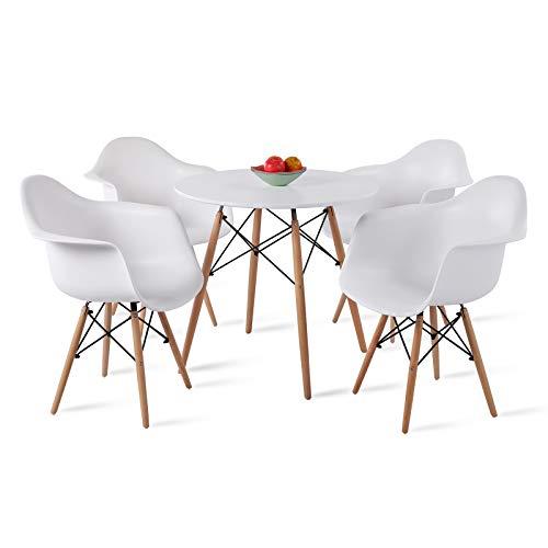 DORAFAIR Set aus Esstisch Weiß Rund und 4 Modern Esszimmerstühle, für Küche Esszimmer Konferenzzimmer