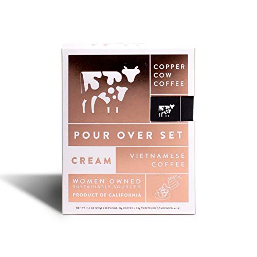 Copper Cow Coffee Vietnamese Pour Over with California Sweetened Condensed Milk – Single-Use Portable Packets - Dark Espresso Roast – 5 Pack