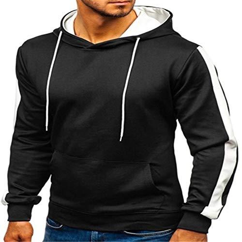 Men's Hoodie Warm Men'S Hoodie Casual Belted Sports Hooded Sweatshirt Solid Color Big Pocket Gym Pullover Hoodie L Black