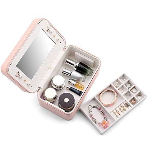 Vlando - Joyero Organizador de Maquillaje con Espejo con asa, Piel sintética Suave de Alta Capacidad para Pulseras, Pendientes, Anillos, Collares, broches, Color Rosa