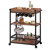 Joolihome Serving Trolley, 3 Tiers Kitchen Storage Trolley with Wine Rack Glass Holder, Wooden Metal Utility Cart with Lockable Wheels Removable Tray for Home Dining Room Bar Restaurant, Rustic Brown