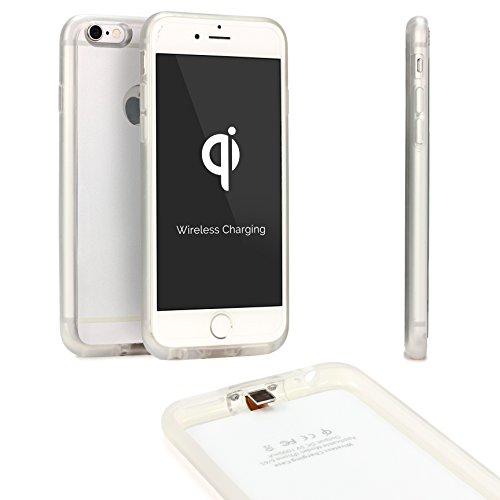 Urcover Custodia protettiva Wireless Qi compatibile con Apple iPhone 6 Plus/6s Plus Back-Case TPU Scocca rigida Cover morbida Carica a Induzione in Argento, Ricevitore Qi integrato