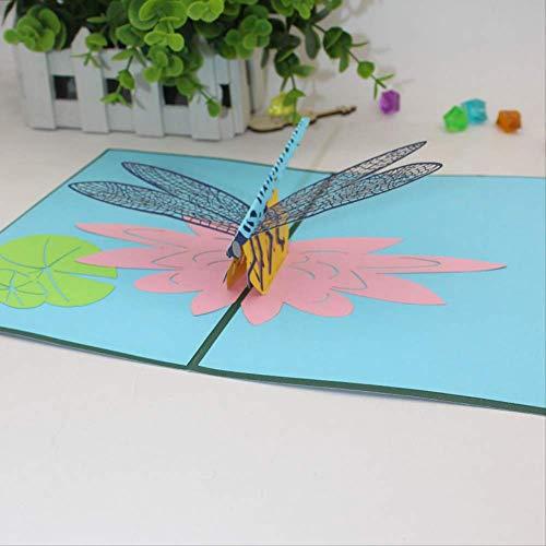 3D Pop Up Origami Paper Dragonfly Tarjetas De Felicitación Hecho A Mano Lotus Flower Festival Regalo De Negocios Enviar Amigos Familia Postal 15X20Cm