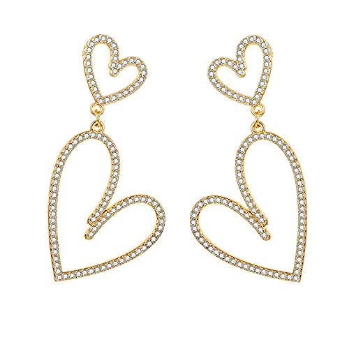 FEARRIN Pendientes Anillos de Moda Pendientes de botón de corazón de Cristal Pendientes de Amor Grandes para Mujer Accesorios de joyería de Boda romántica H134-K078-01