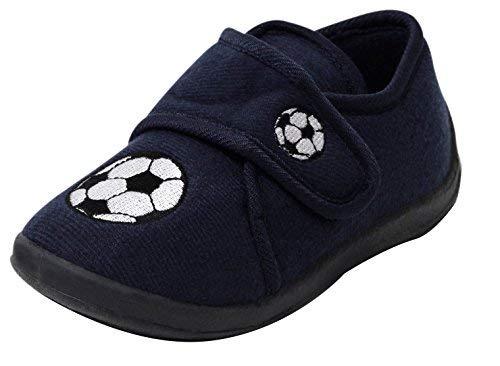 Dynamic24 jongens kinderen fleece slippers blauw voetbal klittenband slippers schoenen met klittenbandsluiting maat 26-29