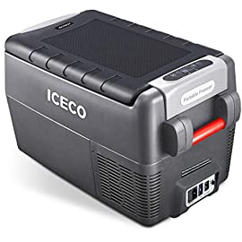 ICECO JP30 Portable Refrigerator, 12V Car Fridge Freezer, 31 Liters Compact Refrigerator with Secop Compressor, for Car… 1 ※ 【FREE PARTS】- Insulated Protective Cover & 12 Feet-Long Extend DC Power Cable. ※ 【MAX & ECO MODE】- This function allows the compressor speed to be slowed down to increase operational efficiencies(ECO) or increase the compressor speed to provide ''quick'' cooldown times(MAX). ※ 【NO ICE NEEDED】- Adjustable Temperature From -7℉~50℉(-22℃~+10℃). How Danfoss compressor works: for the purpose of saving energy, the compressor will stop operating when the freezer up to the set temperature and the compressor will restart to operating when the temperature in the box has risen 6℉-9℉.