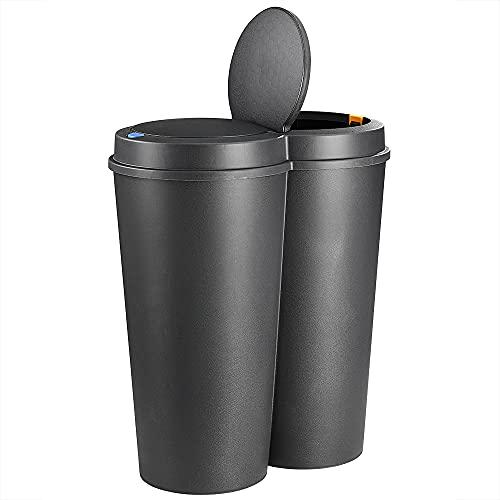 Deuba Mülleimer 50L Duo 2fach Trennsystem 2x25L Druckknopf-Automatik Küche Abfalleimer Müllbehälter Mülltrennung Schwarz