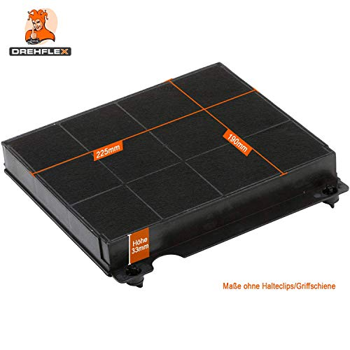 DREHFLEX® – Kohlefilter / Aktivkohlefilter / Filter für Dunstabzugshaube / Abzugshaube / Esse / Umluft für diverse Hauben von AEG / Electrolux / Bauknecht / Whirlpool / Elica und viele weitere – passend für Teile-Nr. 9029793818 / 902979381-8 / 481248048145 weitere mögliche Bezeichnungen: E3CFE15 / AMC027 / Mod.15 / F003333 / F00418SE etc. - 3