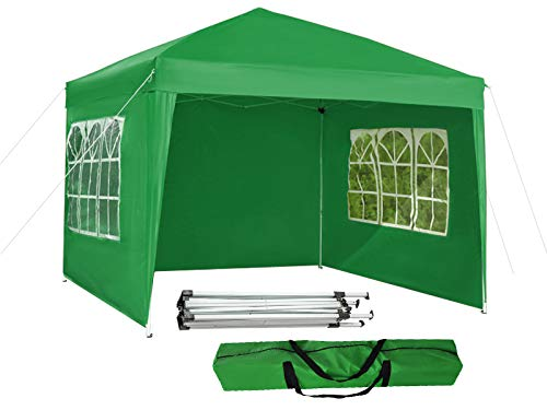 MALATEC Gartenpavillon Partyzelt Festzelt Wasserdicht Faltpavillon 3mx3m UV-Schutz30+ Camping Zelt Faltbare Beige Grün Grau Blau 7902, Farbe:Grün