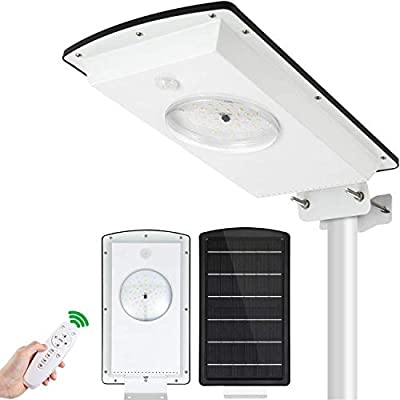 Integrated Solar Street Lights Outdoor Dusk to Down 10400mah 1300 Lumen Solar Parking Lot Light with Remote Control Cold/Warm White IP65 Flood Light with/Without Motion Sensor (Integrated)