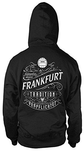 Mein Leben Frankfurt Männer und Herren Kapuzenpullover   Fussball Ultras Geschenk   M1 FB (Schwarz, XL)