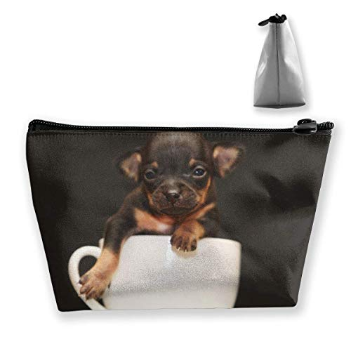 Bolsa de Maquillaje para Cachorros de Perro en Taza, Bolsa de Viaje de Almacenamiento Trapezoidal Grande, Bolsa de cosméticos para Lavar, portalápices, Cremallera, Impermeable