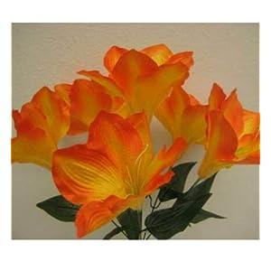 Artificial Silk Flowers Orange Amaryllis Artificial Silk Flowers 16″ Bouquet Get 2 Bushes MG019
