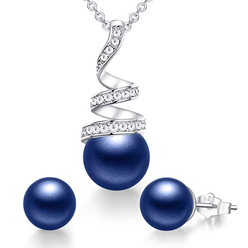 CDE Pearl Jewelry Sets for Women Sterling Sliver/White Gold/Rose Gold Plated Pearl Pendant Necklace Embellished with Crystals Birthday Mothers Day Jewelry Gift for Mom Girls