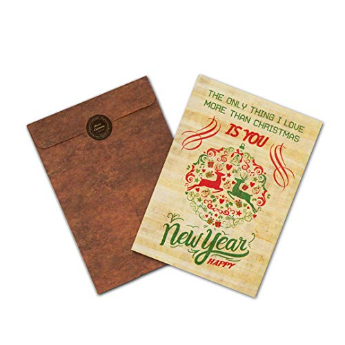 Christmas Card On Old Egyptian Papyrus - Hand Made Christmas Card (Christmas Card On Old Egyptian Papyrus - Hand Made Christmas Card (1, Love You - Envelope))