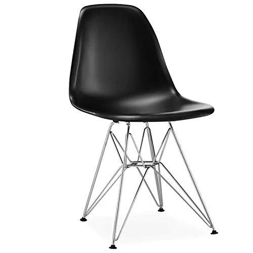 4 sillas de comedor nórdicas minimalistas de plástico con patas de metal para oficina, sala de estar, dormitorio, balcón, cafetería o computadora (negro)