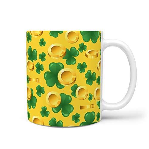 Rinvyintte Kaffeetasse mit Henkel zum St. Patricks Day, Keramik, groß, mehrfarbig, weiß, 11oz