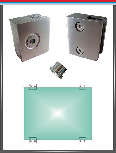 PM glashouder (voor vierkante buis - plat) roestvrij staal V4A glasklem glas klem klem klem beugel leuning hoekig rond, 1-seitig offen, Glas 8,00 mm, 500
