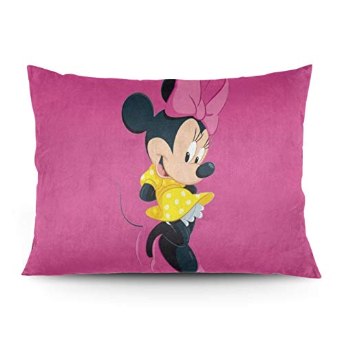 Omigge Cute Cartoons Square Throw Pillow Case, Soft Velvet Cushion Cover With Hidden Zippe For Couch Sofa Home Bed Decoration,Disney Minnie Pink Yelloow Dress