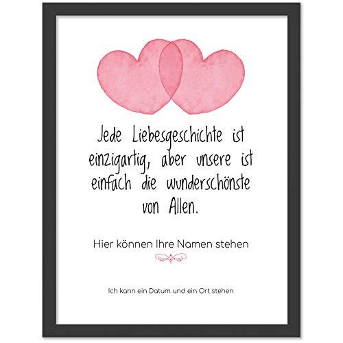 Personalisiertes Poster, 2 große Herzen, Größe 40x30 cm, BILD MIT RAHMEN (schwarz) Geschenk für Sie oder Ihn zum Hochzeitstag, Valentinstag, Jahrestag oder als Liebeserklärung