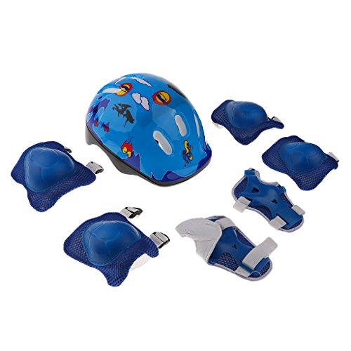 F Fityle Kinderradhelm Set für Skateboard, Mountainbike (1 X Helm + 2 X Pads & Handgelenk + 2 X Knieschoner + 2 X Ellbogenschutz) - Blau