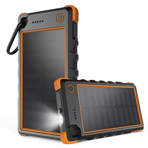iClever Cargador Solar, 10000mAh Portátil Solar Power Bank Dual Puerto USB Cargador Batería con Luz LED, IP67 Impermeable Solar Cargador para iPhone, iPad, iPod, Samsung, Android
