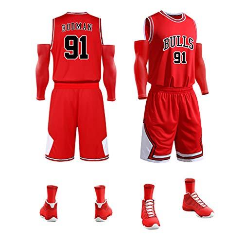 KMNF Basketball Trikot Herren - Dennis Rodman # 91 - Stoff bestickt Swingman Basketball Jersey ärmellos Jersey Anzug Gr. M, rot