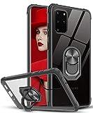 LeYi Funda Samsung Galaxy S20 Plus 5G / S20 Plus / S20+,Transparente Carcasa con 360 Grados iman Soporte Silicona Bumper Armor Case para Movil Samsung Galaxy S20 Plus 5G / S20 Plus / S20+,Clear Negro