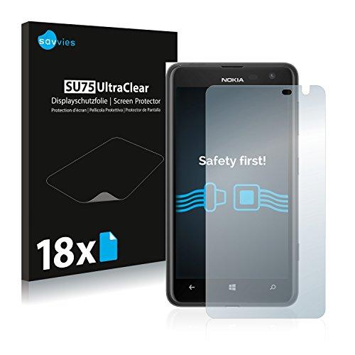 Savvies 18x Schutzfolie kompatibel mit Nokia Lumia 625 Bildschirmschutz-Folie Ultra-transparent