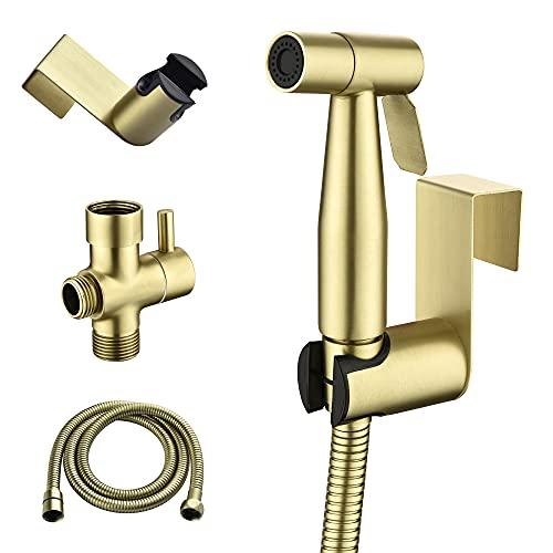 SHAMANDA Handheld Bidet Sprayer for Toilet, Stainless Steel Baby Cloth Diaper Sprayer Kit, Bathroom Toilet Bidet Attachment Set for Bathing Pets Feminine Hygiene, Brushed Gold BDS01-3
