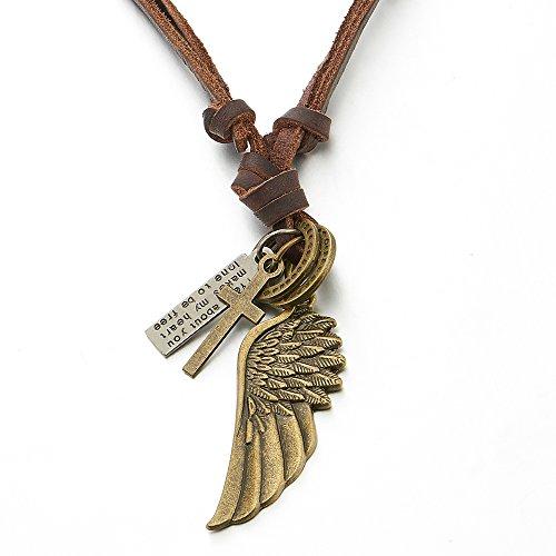 COOLSTEELANDBEYOND Estilo Retro, Vintage Bronce Alas de ángel, Collar con Colgante de Hombre Mujer, con Marrón Cordón de Cuero Ajustable