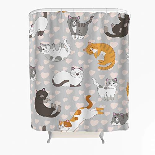 Katze Herz Duschvorhang Anti-Schimmel Wasserdicht Polyester Schöner Vorhang mit Haken für Badezimmer Grau 150x200cm