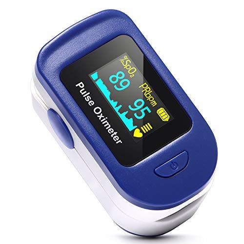 HOMIEE Pulsoximeter für Sauerstoffgehalt im Blut SpO2 und Herzfrequenz Pulsfrequenz Messen, Fingeroximeter mit LCD Bildschirm und Herzfrequenz Monitor für zu Hause, Sport, Bergsteigen, Skifahren