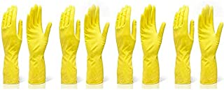 Even Rubber Reusable Hand Gloves for Cleaning and Washing Glove , Free Size, Yellow 4 Pieces